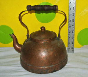 Vintage 19 Century Copper Kettle Goose Neck Sprout With Lots Of Patina