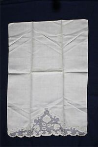 Vintage Madeira Linen Organza Hand Towel Embroidery Applique Ivory Color