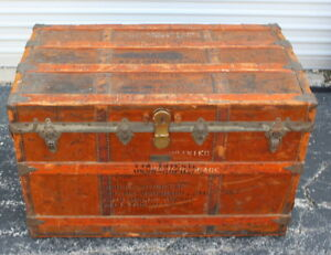 Very Cool Vintage Crouch Fitzgerald Wood Steamer Trunk Great Patina