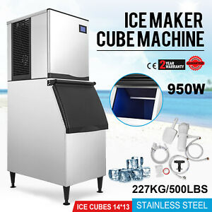 500 Lbs 24h Commercial Ice Maker Machine Snack Bars Cafes Time Setting 950w 110v