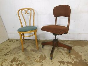 Vintage Cool Mcm Mid Century Quiet Wood Rolling Adjustable Office Chair Studded