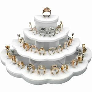 29 Ring Display White Leather Jewelry Stand Holds 29 Rings