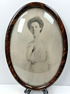 Vintage Oval Portrait Wall Hanging Frame 21 X 15 Bubble Glass Tiger Wood Style