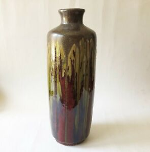 Vintage Mid Century Modernist Ceramic Drip Glazed Decorative Vase