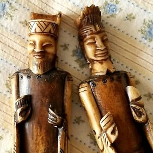 Vintage Chinese Carving Husband Wife Statues Rare Figurines Circa 1920 S