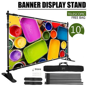 10 Ft Adjustable Background Banner Stand Backdrop Exhibitor Expanding Display