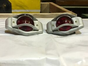 Nos Pair Red Cats Eye Unique Early Fender Cab Marker Light Vintage Truck Car