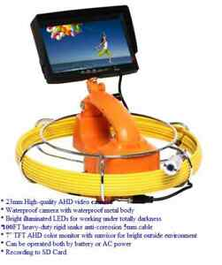 Sewer Drain Pipe Waterproof Inspection Snake 1 Camera 100ft 5mm Cable Lcd 7 Sd