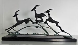Art Deco Style Wrought Iron Solid Metal Leaping Jumping Gazelle Deer Sculpture