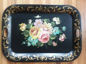 Vtg Outstanding Large Hand Painted Black Gold Floral Fireplace Mantle Tole Tray