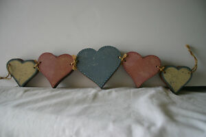 Chunky Wooden Country Hearts Garland Pink Blue 23 Long