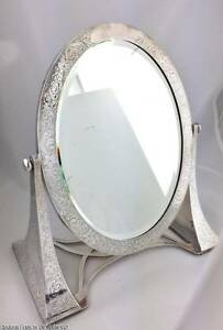 Antique C 1900 Lebkuecher Sterling Silver Swivel Dressing Table Vanity Mirror