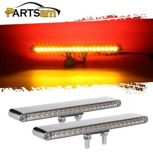 2x12 Red amber 40 Led Dual Face Truck Semi Trailer Marker Light Bars Clear Lens