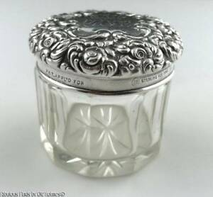Antique Unger Brothers Sterling Silver Art Nouveau Repousse Small Vanity Jar