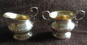 Antique Sterling Silver Gold Wash Cream And Sugar By Poole