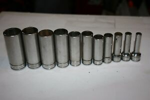 Snap On Tools 3 8 Drive 6 Point Sae Deep Flank Drive Socket Set 1 4 7 8 11pc