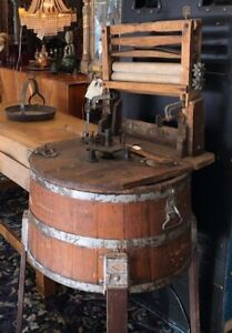 Antique Wooden Washing Machine With Wringer