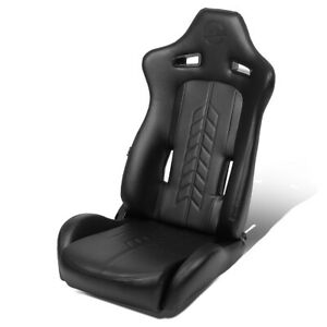 Nrg Innovations 1pc Right Arrow Pvc Full Reclinable Racing Bucket Seat Rsc 810bk
