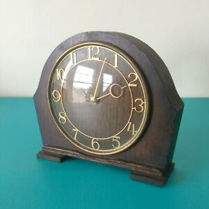 Vintage 1940 S Smiths 30 Hour Wooden Mantel Clock Gold Numbers Hands For Repair