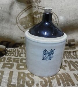 Vintage Western Stoneware Gallon Jug Maple Leaf Ceramic Dark Brown Syrup Whiskey
