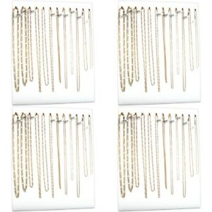 Four 12 Hook White Chain Necklace Display Easels 12 X 15