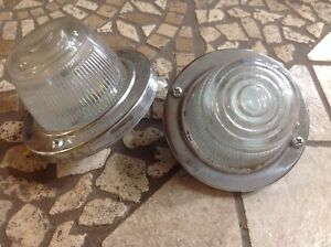 Nos Pair Vintage Back Up Lamp Early Auto Truck Lights Glass Lens Car Reverse Old