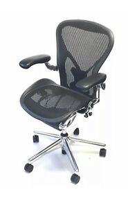 Herman Miller Executive Size C Posturefit With Leather Arms Pads Aeron Chair