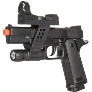 AIRSOFT TACTICAL SPRING PISTOL HAND GUN w LASER SIGHT amp; FLASHLIGHT 6mm BB BBs $12.95