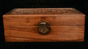 Chinese Dynasty Huang Huali Wood Flower Storage Jewelry Chest Bin Box Statue 24