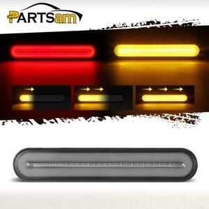1pc 9 Smoke Red Amber 100 Led Stop Turn Tail Brake Sequential Signal Halo Light