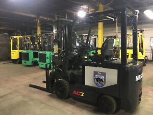 2014 Nissan 6000 Lb Electric Forklift Triple Mast With Fork Positioners