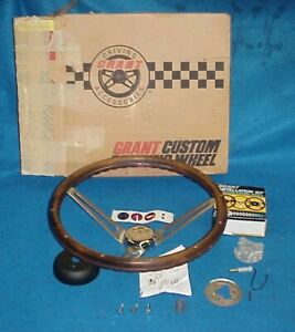Nos Grant Vintage Wood 3 Spoke Steering Wheel Adapter Chevelle Camaro Chevy 67