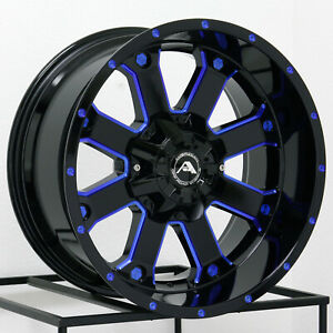 20x10 American Off Road A108 8x170 24 Black Milled Blue Wheels Rims Set 4