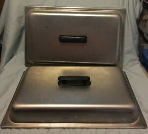 2 Full Size 21 X 13 Stainless Steel Dome Steam Table Buffet Pan Cover Lids