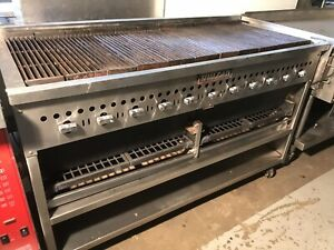 6 Foot 60 vulcan Radiant Gas Char broiler Wood optional Grill On Casters