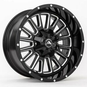 20x12 American Off Road A105 5x150 44 Black Milled Wheels Rims Set 4