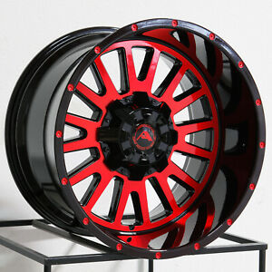 20x12 American Off Road A105 6x120 44 Black Machined Red Wheels Rims Set 4