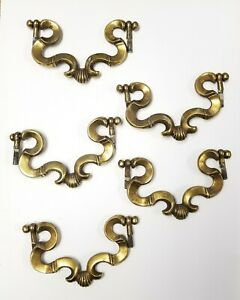 Vintage Lot Of 5 Large Heavy Brass Dresser Drawer Pulls Made In Italy 5 1 8
