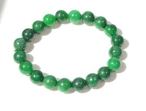 Vintage Hand Carved Natural Green Jadeite Jade Bead Bracelet 10 Mm