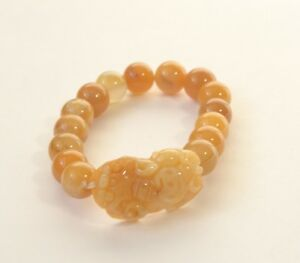 Vintage Hand Carved Natural Pi Xiu Yellow Jadeite Jade Bead Bracelet 13 Mm