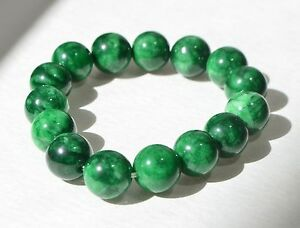 Vintage Hand Carved Natural Green Jade Jadeite Bead Bracelet 13mm
