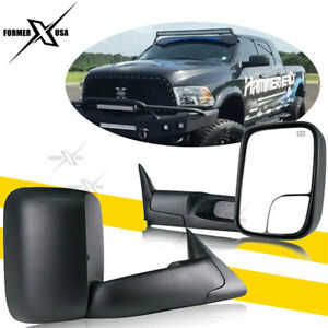 Dodge Ram 1500 2500 3500 Towing Mirrors Pair Power Heated Black For 1998 2001
