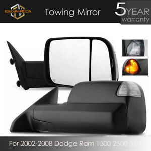Pair For 02 08 Dodge Ram 1500 2500 3500 Pickup Manual Tow Mirrors Flip Up Mirror