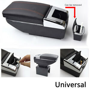 Universal Car Auto Armrest Central Console Storage Box Interior Black Pu Leather