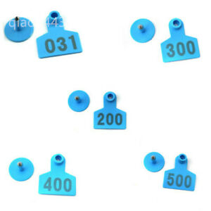 Plastic Livestock Ear Tag Animal Tag For Goat Sheep Pig Blue Number 001 500