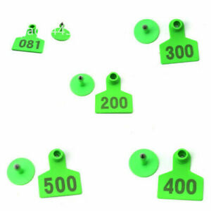 Green Plastic Livestock Ear Tag Animal Tag For Goat Sheep Pig Number 001 500