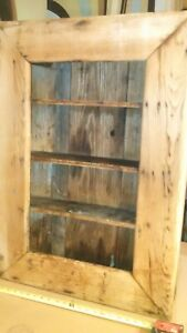 Vintage Primitive Medicine Wall Cabinet Rustic Yellow Pine Weathered Rough Cut