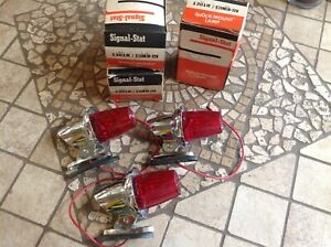 Set 3 Nib Vintage Cab Marker Light Signal Stat 13m Red Early Auto Fire Truck 12v