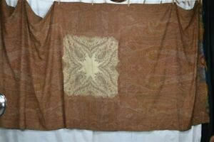 Antique Paisley Shawl Throw Woven Wool Civil War Era 62 X 134 White Center 1800