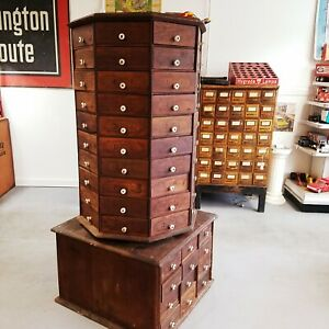 Antique American Bolt Screw Case Co Hardware Store Rotating Cabinet 96 Drawer
